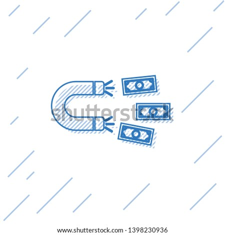 Blue Magnet with money line icon isolated on white background. Concept of attracting investments, money. Big business profit attraction and success. Vector Illustration