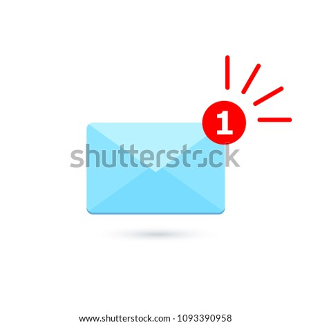 Blue mail envelope icon. Mail notification with red marker One Message. Delivery of messages, sms. Vector illustration in flat style.
