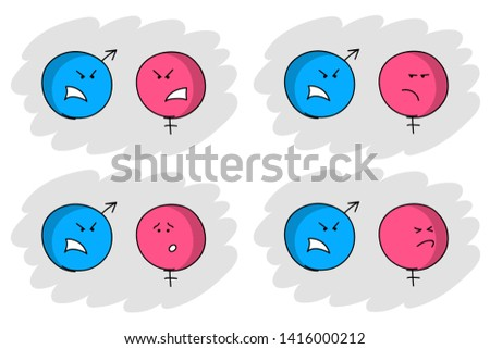 Blue male and pink female symbols are conflicting. Man and woman behaviors while quarreling. Set of simple caricatures