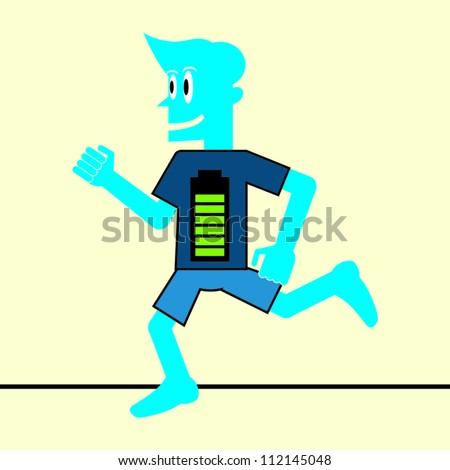 Blue Man Running on High Energy