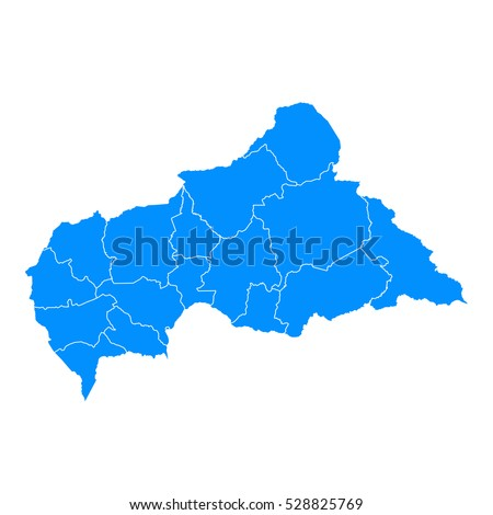 Blue map of central African Republic