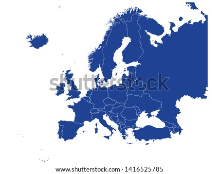 Blue Map of Europe With Countries on White Background
