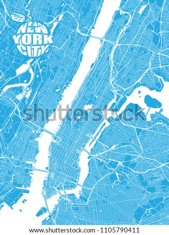 blue map of new york city with