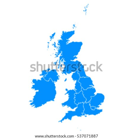 Blue map of United Kingdom