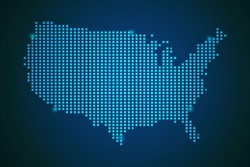 Blue map of United States of America - USA polka dots on dark background symbol for your web site design map logo, app, ui, travel vector eps10.