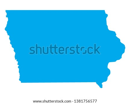 Blue Map of US Federal State of Iowa