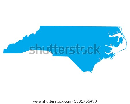 Blue Map of US Federal State of North Carolina