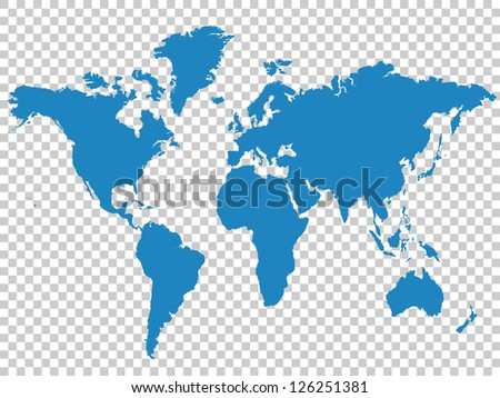 Blue Map on Checkerboard Pattern, Vector Illustration