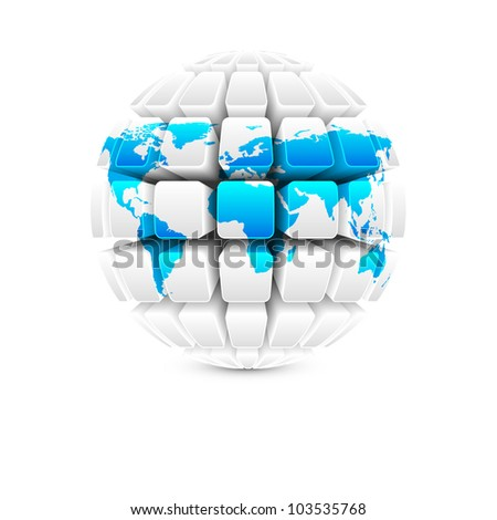 blue map on white globe vector