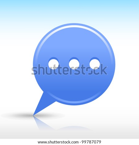 Blue map pin with chat room sign. Satin round web internet button icon with drop gray shadow and color reflection on white background. Vector saved in 10 eps. See more design elements in my gallery