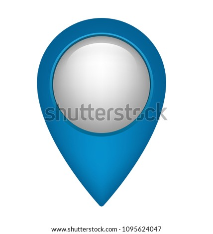 Blue map pointer. Glossy pointer with white circle