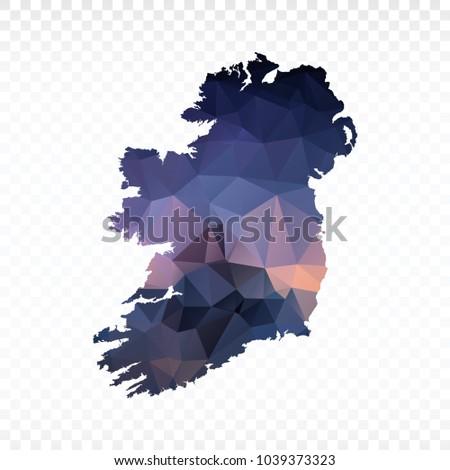 blue map polygonal ireland map