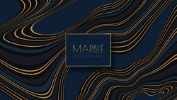 Blue marble with golden veins vector pattern. Wave abstract background with gold and blue lines.