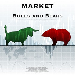 Blue market background with bull and bear color silhouettes