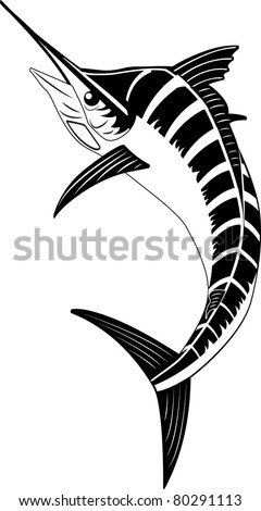 Blue Marlin. Simple minimalistic vector illustration of black-and-white swordfish (may be used as logo element)