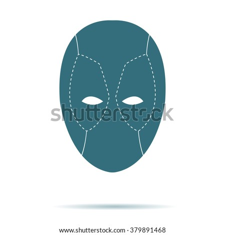 blue mask icon isolated on