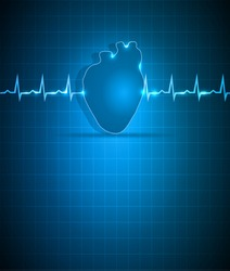 Blue medical background with heart. Abstract cardiogram and human heart.