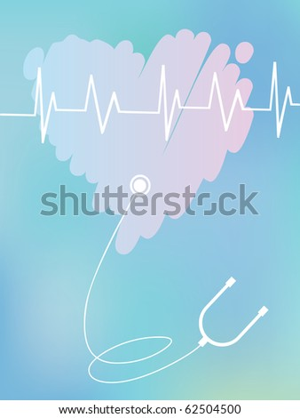 Blue medical background with heart and a stethoscope
