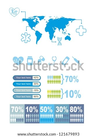 blue medical icons over white background. vector illustration