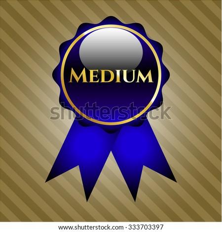 Blue Medium gold ribbon