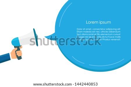 Blue Megaphone for communication and speech bubble. Voice announcement. Concept advertising. Flat design