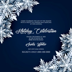 Blue Merry Christmas Greetings card. White Origami Paper cut snow flake. Happy New Year Decoration. Winter snowflakes background. Seasonal holidays. Snowfall. Origami. Blue background. Vector