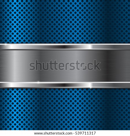 Blue metal background with perforation. Vector illustration.