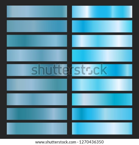 Blue metal foil. Texture turquoise vector, shiny metal gradients collection for labels and frames or ribbons design
