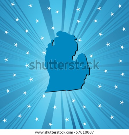 Blue Michigan map, abstract background for your design