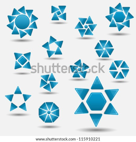 Blue modern abstract vector web items set