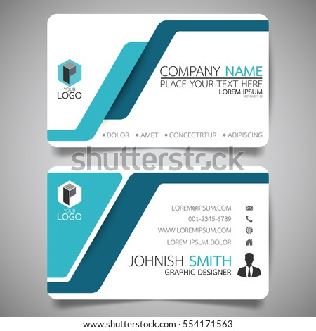 Blue modern creative business card and name card,horizontal simple clean template vector design, layout in rectangle size.