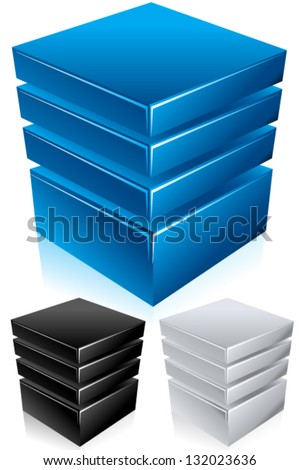Blue modern database, hosting, server conceptual vector illustration - Shiny and bold in style, comes in blue, black, and silver colors