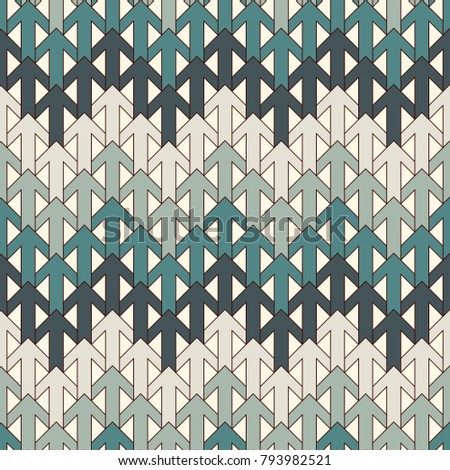 Blue modern print with interlocking arrows. Contemporary abstract background with repeated pointers. Tender seamless pattern with geometric figures. Creative wallaper. Vector digital paper