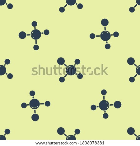 Blue Molecule icon isolated seamless pattern on yellow background. Structure of molecules in chemistry, science teachers innovative educational poster.  Vector Illustration