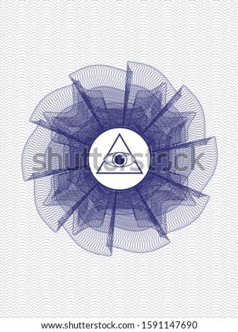 Blue money style emblem or rosette with illuminati pyramid icon inside
