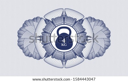 Blue money style emblem or rosette with 4kg kettlebell icon inside