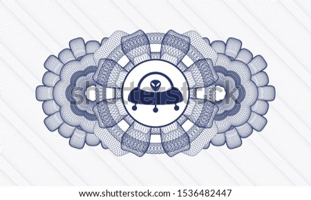 Blue money style emblem or rosette with ufo with aline inside icon inside