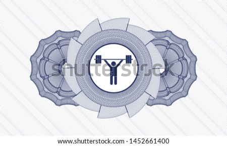 Blue money style emblem or rosette with weightlifting icon inside