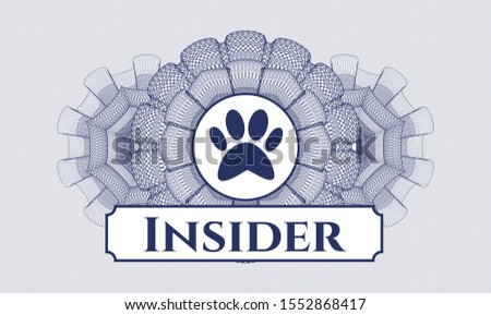 Blue money style rosette with paw icon and Insider text inside