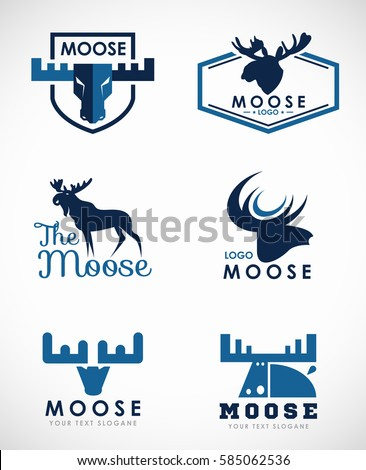 Blue Moose logo vector set art design