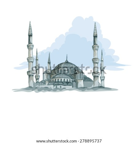 blue mosque in istanbul vector