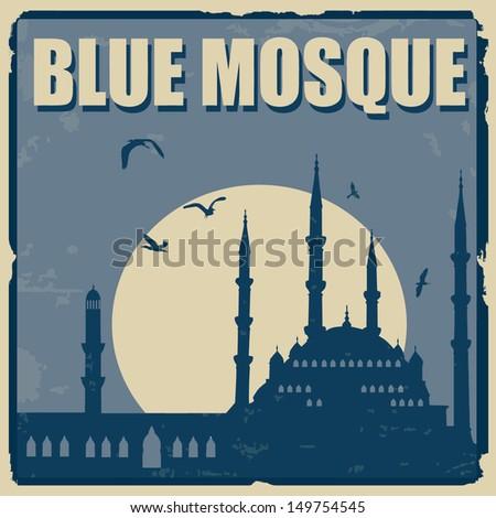 Blue Mosque vintage grunge poster, vector illustration