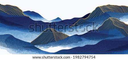 Blue mountain and golden line arts background vector. Oriental Luxury landscape background design with watercolor brush and gold line texture. Wallpaper design, Wall art for home decor and prints.