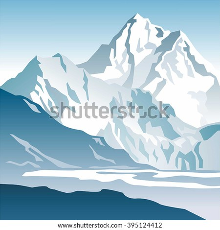 blue mountains and glacier