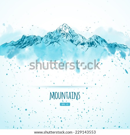 blue mountains  hand drawn with
