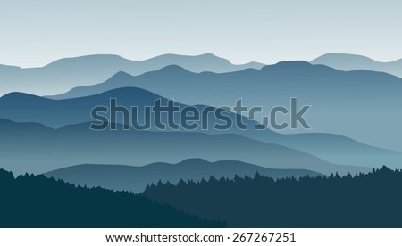 Blue mountains in the fog. Vector illustration.