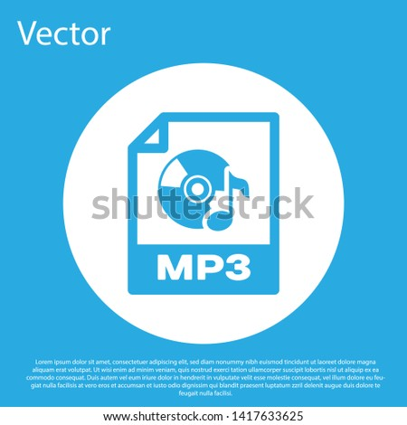 Blue MP3 file document icon. Download mp3 button icon isolated on blue background. Mp3 music format sign. MP3 file symbol. White circle button. Vector Illustration
