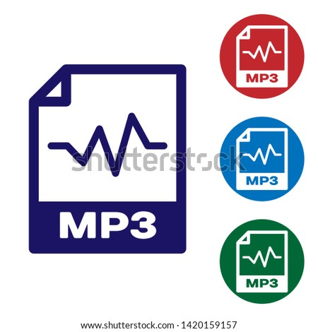 Blue MP3 file document icon. Download mp3 button icon isolated on white background. Mp3 music format sign. MP3 file symbol. Set color icon in circle buttons. Vector Illustration