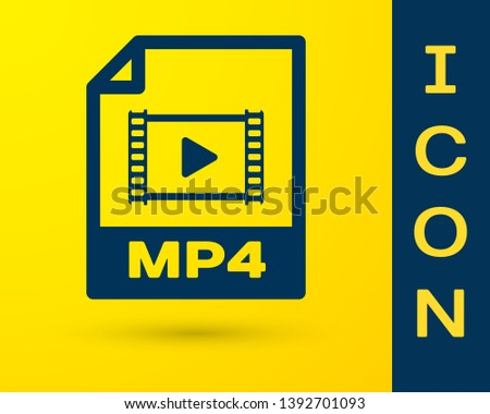 Blue MP4 file document icon. Download mp4 button icon isolated on yellow background. MP4 file symbol. Vector Illustration