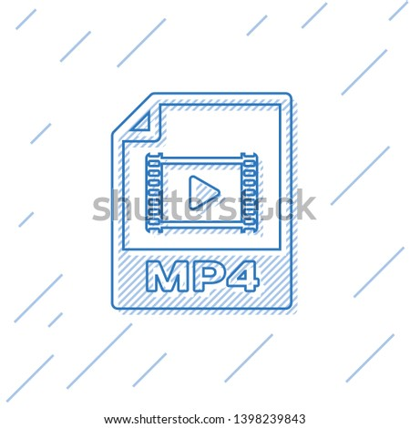 Blue MP4 file document icon. Download mp4 button line icon isolated on white background. MP4 file symbol. Vector Illustration